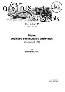 Mialet, archives communales anciennes, antérieures à 1790