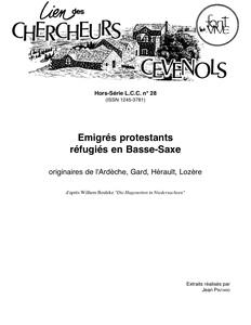 Émigrés protestants réfugiés en Basse-Saxe, originaires de l'Ardèche, Gard, Hérault, Lozère